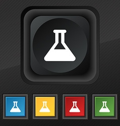 Conical flask icon symbol set of five colorful vector