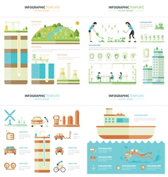 Eco infographic 4 in 1 vector
