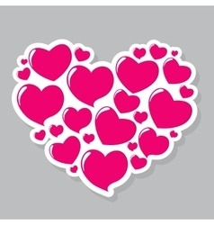 Heart form sticker vector