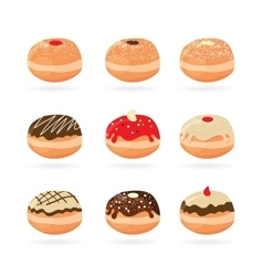 Hanukkah doughnutstraditional holiday food vector