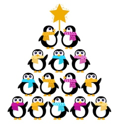 cute penguins creating christmas tree vector image