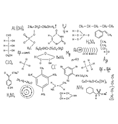 Hand drawn chemistry formulas science knowledge vector