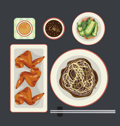 Black noodle vector