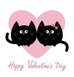 Black round cat couple family icon pink heart vector