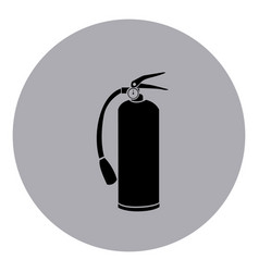 Blue emblem sticker extinguisher icon vector