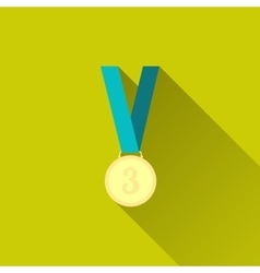 Bronze medal in flat design with long shadow vector image