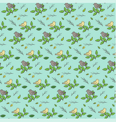 Cute hand drawn pattern with birds on branches vector