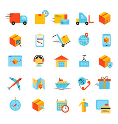 Delivery app modern flat icons set vector