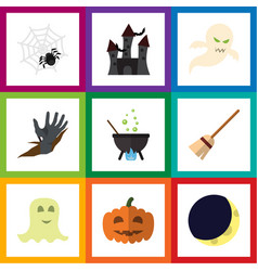 flat icon festival set of zombie crescent magic vector image