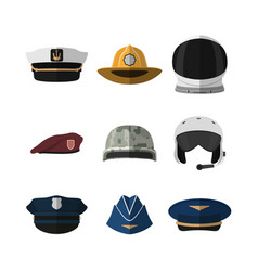 Hats and helmets icon of cap in flat style vector