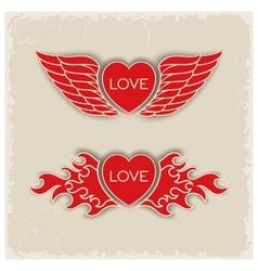 Heraldic volumetric hearts vector