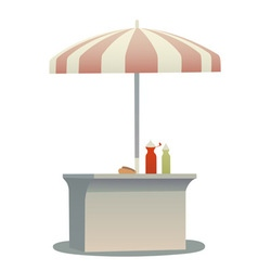 Hot dog cart vector
