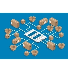 isometric global delivery background vector image