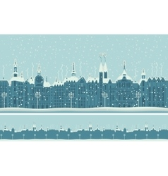 Old winter town with snow vector