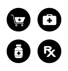 Online pharmacy black icons set vector image vector image