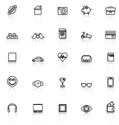 Personal data line icons with reflect on white vector