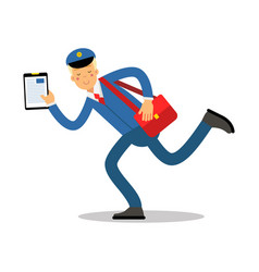postman in blue uniform with red bag and clipboard vector image