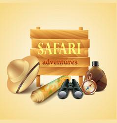 Safari travel accessories background vector image