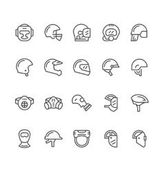 Set line icons of helmets and masks vector