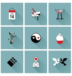 Set of flat design icons for Valentines day vector image vector image