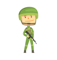 soldier character in camouflage uniform with vector image