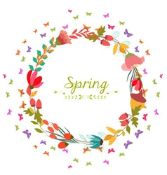 Spring with flower and butterflies shape of the vector