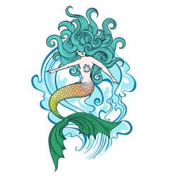 swimming mermaid vector image vector image