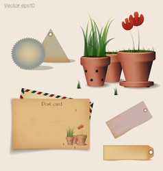 Vintage postcard and envelope vector image vector image