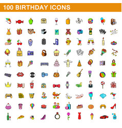 100 birthday icons set cartoon style vector image
