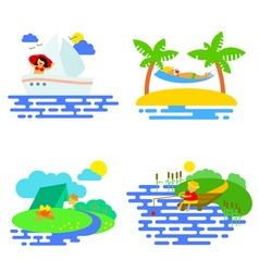 Summer activity icons set in flat style vector