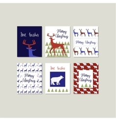 Set of Merry Christmas greeting cards with vector image