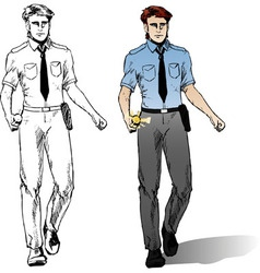 Police man comics style vector