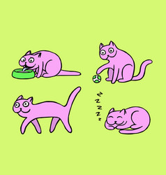 Pink pussycat emoticons set isolated vector