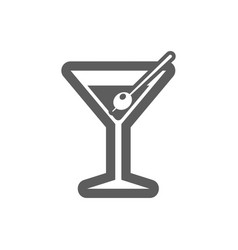 Martini cocktail outline icon summer vacation vector