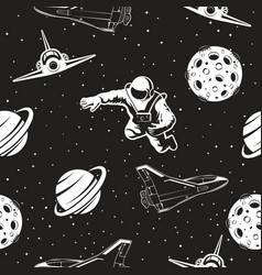 Space seamless pattern black and white version vector
