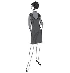 Stylish cloth woman fashion dressed girl 1960s vector