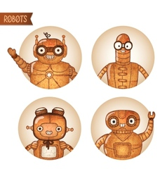 Steampunk robots iconset vector