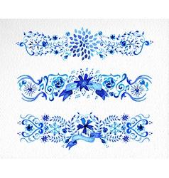 Watercolor flowers ornament set vector image