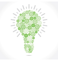 Green gear make bulb shape vector