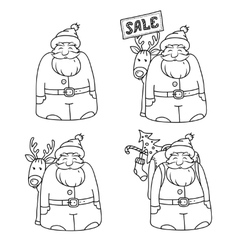 Set of four characters santa claus vector