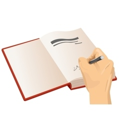 Hand signing the first page of a hardcover vector