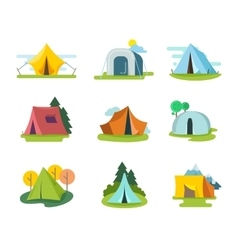 Tourist tents set in flat style vector