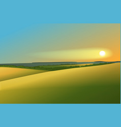 Rural landscape with sunset vector
