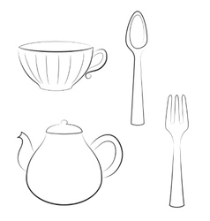 Styled set of kitchen utensils vector image