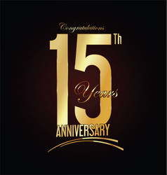 Anniversary golden sign 15 years vector