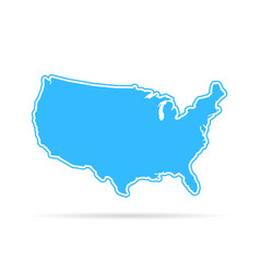blue outline usa map with shadow vector image vector image