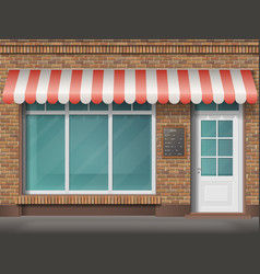 brick shop facade awning vector image