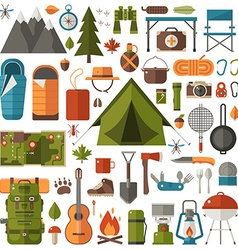 Camping and Hiking Equipment Set vector image