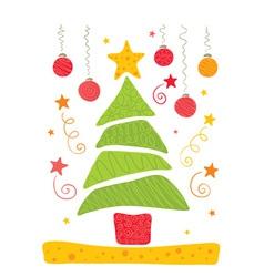 cheerful christmas tree vector image vector image
