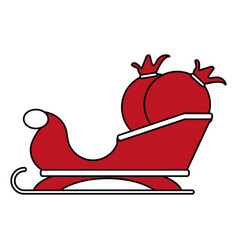 Color silhouette image of santa claus sleigh with vector
